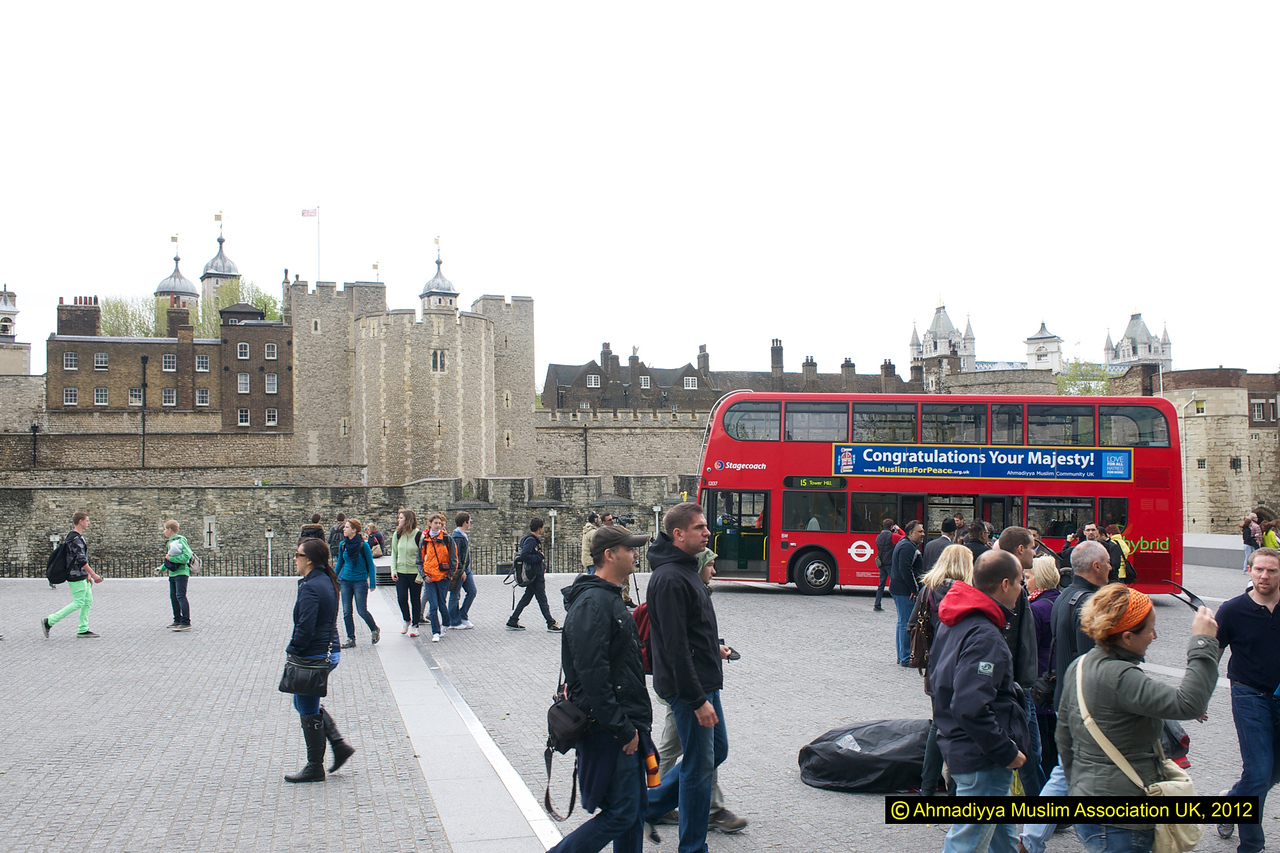 Jubilee/Message of peace bus outside Tower of London