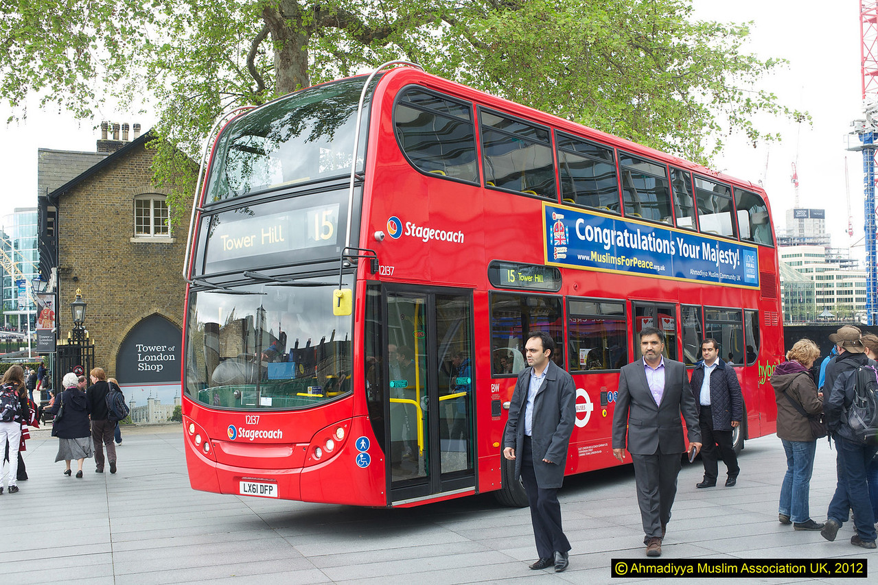 One of the special 200 buses arriving in the main compund of the Tower of London