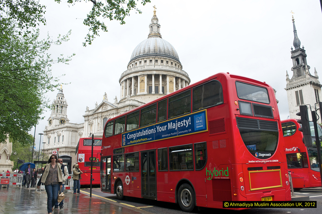 The jubilee message bus outside St Paul Cathedral in London