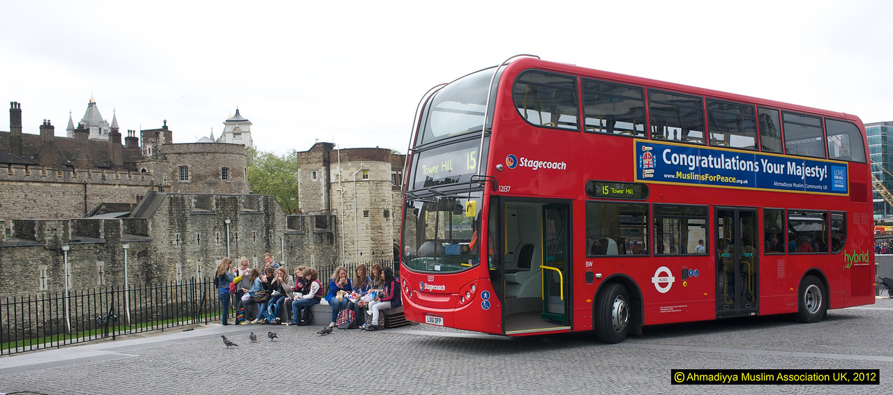 Lunch by the Tower…. and the bus for some foreign students on holiday!