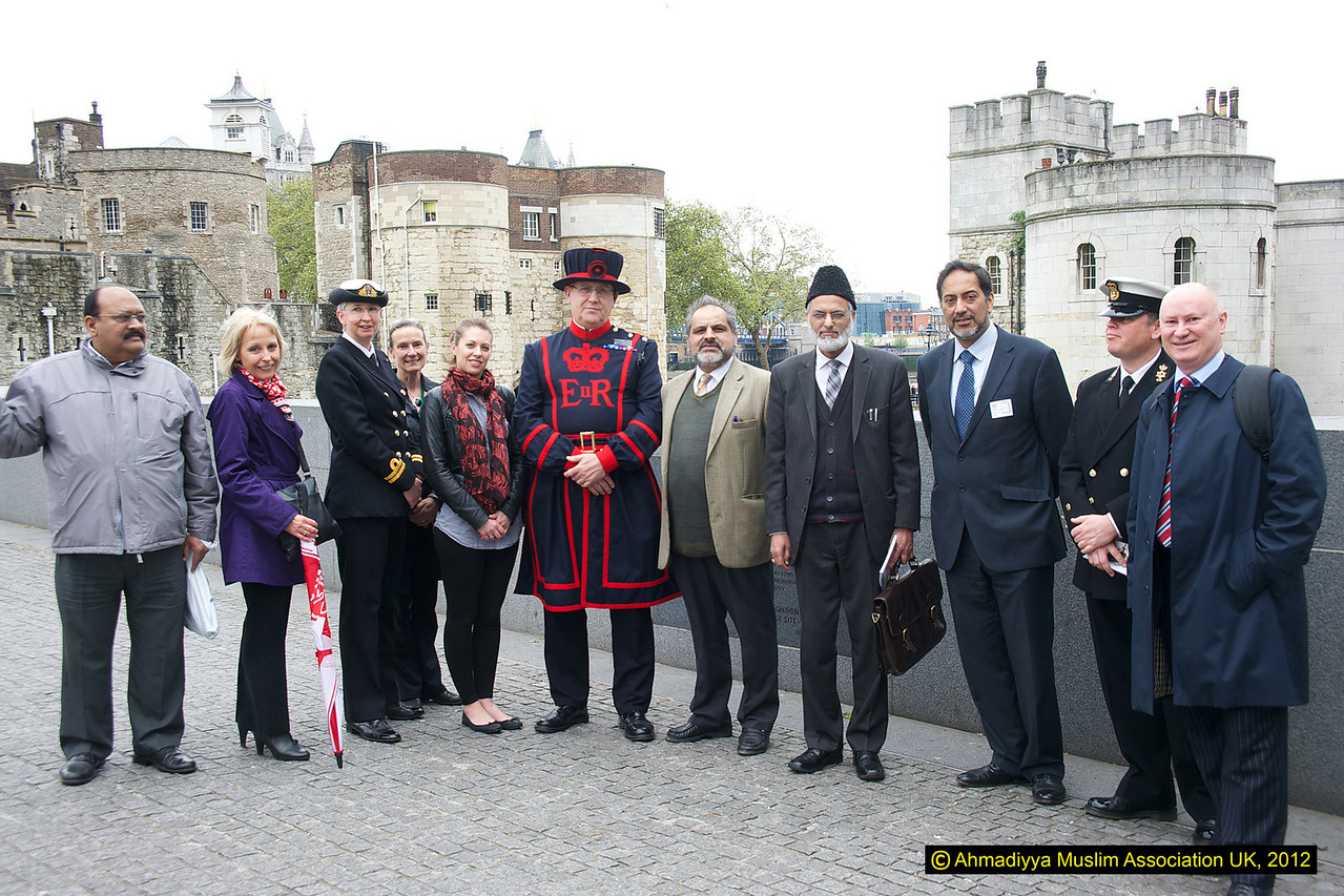 Outside the historical Tower of London with official of the Tower