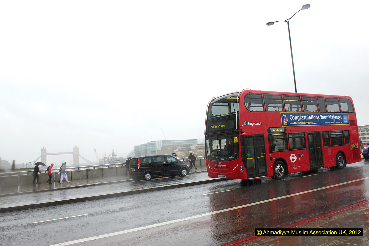 The Jubilee message bus with Tower Bridge in the background.