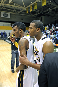 Marcus Damas and Deon Jones celebrate their first win of the season, and snapping a Division-I 41 game losing streak in the process.