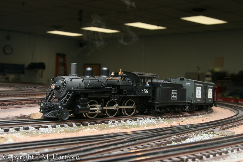 B&M 1455 leads her train through the yard.