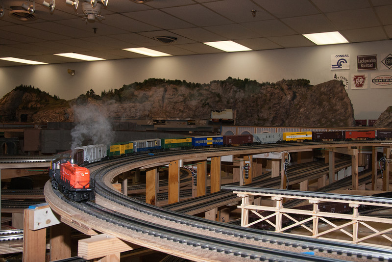 A fellow clubmember's NH RS-1 leads a freight.
