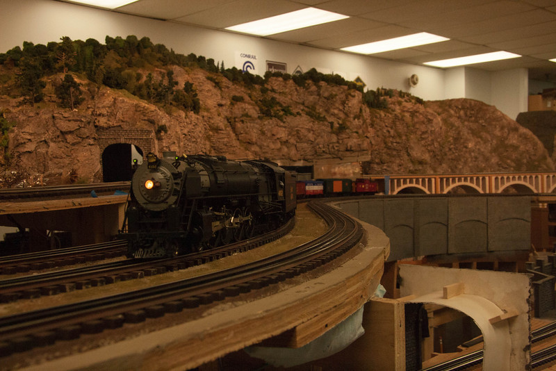 """B&M R-1 #4102, which was named """"Cardigan"""" after a Mountain in Northern New Hampshire, is seen coming up the grade on the Boston Metro Hi-Railers layout in Wilmington, MA"""