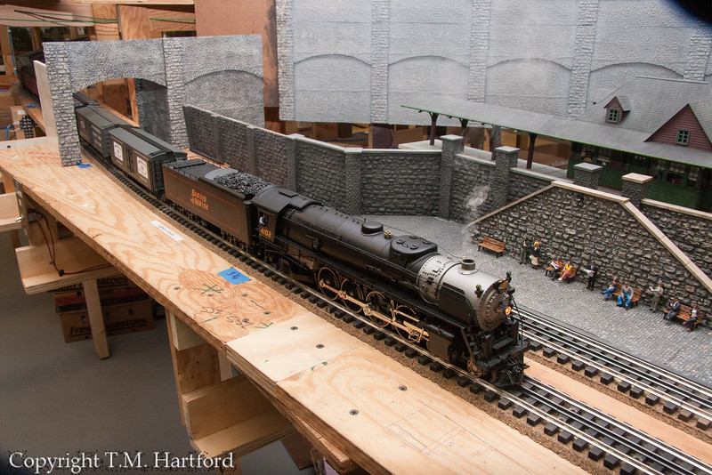 """Close up of B&M #4102, """"The Cardigan"""". Class R-1a 4-8-2. Station is referred to on the layout as Scranton."""