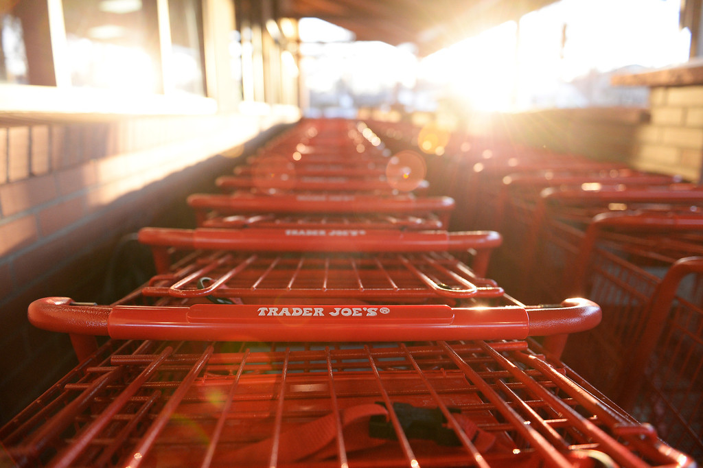 . Shopping carts are lined up for the crowd of shoppers at the new Trader Joe\'s, located on Colorado Blvd. and East 8th Avenue in Denver, during the grand opening of specialty grocer, February, 14 2014. Two other Trader Joe\'s locations in Colorado will also open today. (Photo by RJ Sangosti/The Denver Post)