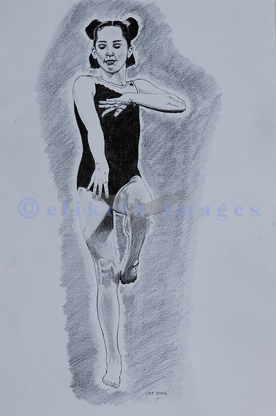 My daughter's gymnastic coach had a wonderful daughter who was a gymnast. I did this pencil drawing from an original black and white photo I took of her in the gym.