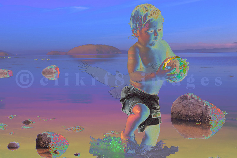 Just playing with Photoshop layers, transparency, filters. Title: Boy Saves World. The shore scene is from March Point and the boy was a patron at a local pool.