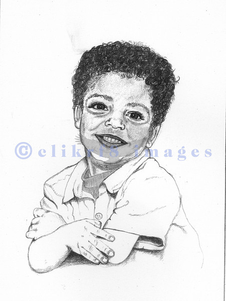 This young child was so adorable that I asked his mom if I could draw him.