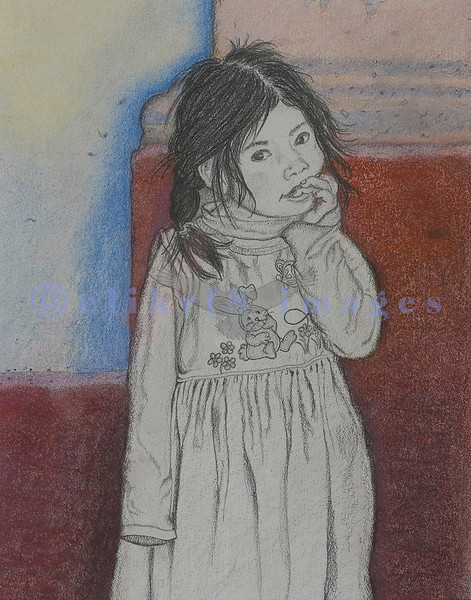 You can see the original photograph I took of this young Indigenous child in the Mexico-People gallery. This pencil and colored pencil drawing was an experiment in both medias.