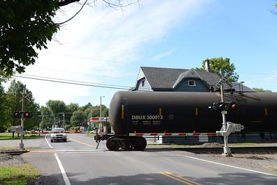 Tania Barricklo-Daily Freeman    A vehicle waits as a train crosses over Leggs Mills Rd. in Lake Katrine.
