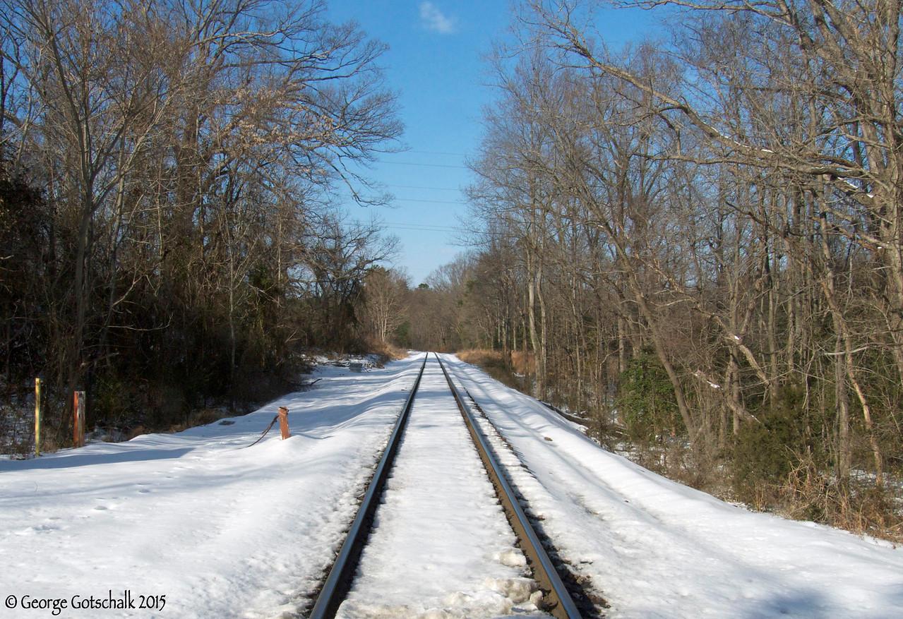 Snowy Train Tracks in Chesterfield towards Dutch Gap