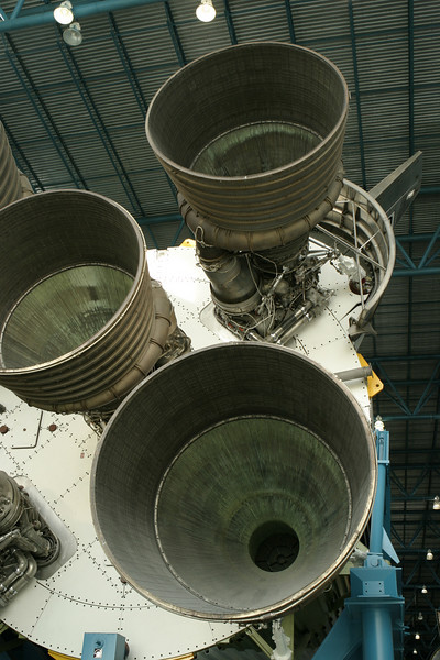 A view of the powerful rocket engines and thrusters of the Saturn V rockets. The Saturn V was the rocket that launched the Apollo moon landing space expeditions.