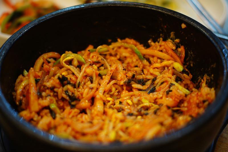 Korean bibimbap mixed and ready to eat