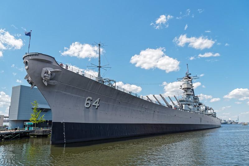 USS Wisconsin (BB-64) As Seen from Adjacent Pier