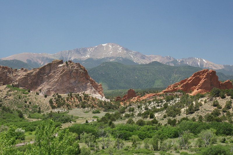 The Garden of Gods from the visitor center.<br /> <br /> DSC07001