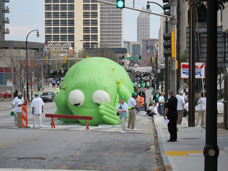 The view outside our hotel on March 17th - staging for the St. Patrick's Day parade.  That's Kermit.  It ain't easy bein' green.