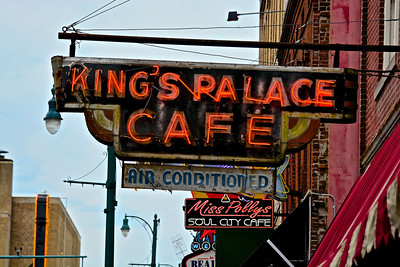Kings Palace Café located at 162 Beale Street, has the old time Beale Street atmosphere of good food and good music. King Palace Café has a large dining room and a lazy outdoor patio, also the Jazz Room for live Blues and Memphis Music nightly. Open For Lunch And Dinner 7 days and nights a week and open for breakfast At 8:00 a.m., Saturday and Sunday. Kings Palace Café serves Cajun cuisine ranging from Shrimp & Crawfish Etouffee, Blackened Catfish, Voodoo Potatoes, and many more. They also have pasta dishes, such as Shrimp Velvet, which is large butterfly shrimp on a bed of linguini with a mildly spiced cheddar cheese sauce, and many more pasta choices. Don't forget the Meat! King's Palace Café has Memphis Style (hickory smoked) BBQ Ribs, and New York Strips, Bacon Wrapped Filets, and Salmon Steaks (which are lightly smoked and grilled to perfection). Kings' Palace Café daily lunch specials Monday through Friday 11am – 2 pm include Lite Lunch such as Cajun Chicken Salad, or something a little