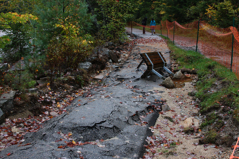 Rocky Gorge Scenic Area - walkway washed out.  The bench was completely out of the ground.