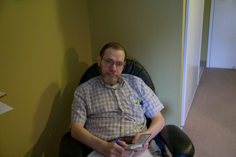 Dad doing his morning studies.