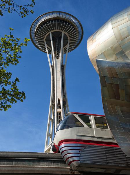 Seattle Needle, Tram and EMP bulding