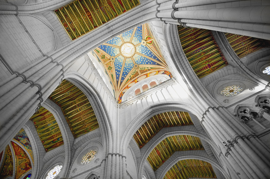 Ceiling of  a Cathedral in Madrid Spain.