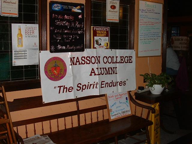 Nasson banner proudly hoisted in the restaurant's foyer