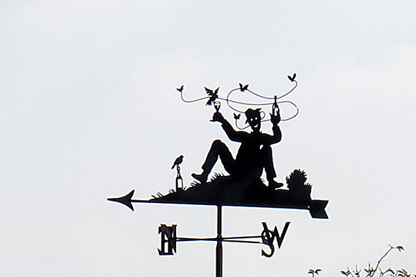Weather vane at the rear of the Tolpuddle Methodist Chapel.