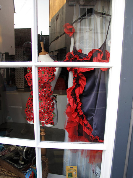 A special shop display for Remembrance Day in Blandford.   The poppy dress is interesting!