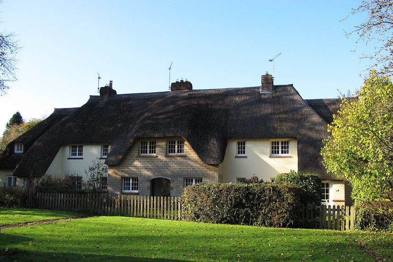 Cottages in Bladen Valley, Bryantspuddle, built early in the twentieth century.<br /> Many of the houses in the village are constructed from specially hand made 'air-spaced' concrete blocks which were produced locally. These reduced the need for foundations and aimed to insulate by the air gaps and over 200,000 were produced annually.