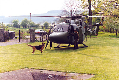 Iain landed his Lynx helicopter at our parents home one day.