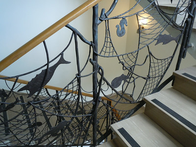 The Guesthouse, while relatively simple, had beautiful art work and details.  In this case, a wrought iron scene of local sea life.