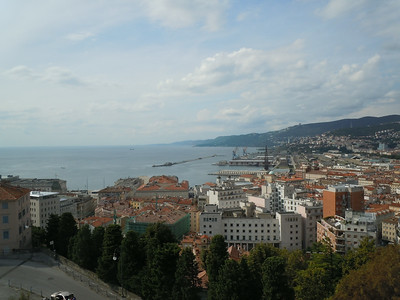 Trieste is built along a hillside.  At the top, there is an old castle that provided for protection of the city during it's past.