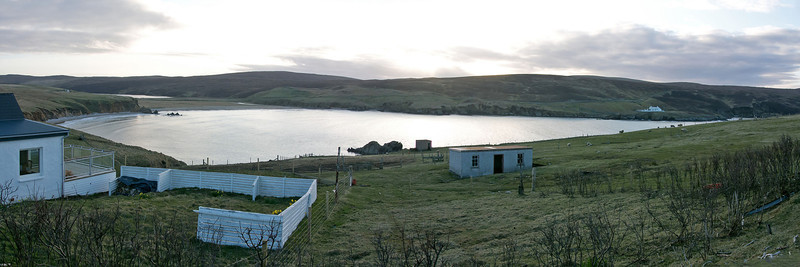 The View from the Shetland Nature Lodge; Hermaness Visitor Centre can be seen, top right