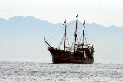 The Marigalante, a pirate-themed day-cruiser, sits off the coast of Puerto Vallarta, Mexico.