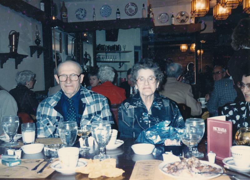 Sophie and Fred Truempi - November 1987 - Celebrating Sophie's birthday at Mike's Cerise Club in La Crosse.