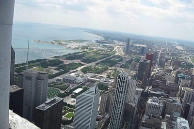 View outside from 77th floor, also footage from pumping platform above the 85th floor.   Video by Jim Horton