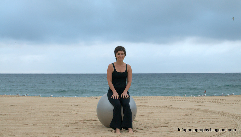 Tanya with a stability exercise ball at Coogee Beach, Sydney in January 2010