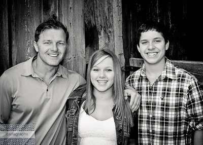 Family in Front of Barn bw-