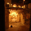 Interior courtyard at night, Cappadocia Cave Suites hotel, Goreme, Cappadocia, Turkey.