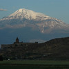 Khor Virap Monastery, in Armenia, foreground, and Mt. Ararat, Turkey, at dawn.