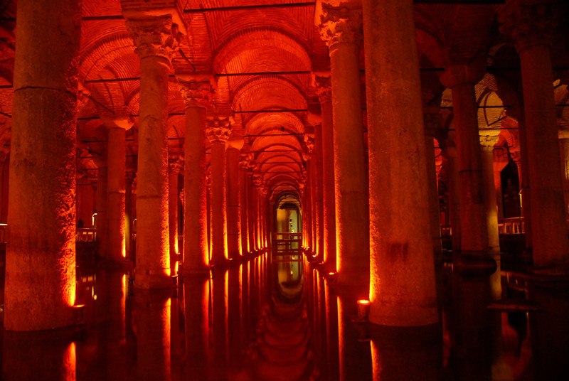 The Basilica Cistern, or Yerebatan Sarayi, built during the reign of emporer Justinian I in the 6th century, near the Hagia Sophia in Istanbul.