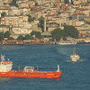Ship enters Sea of Marmara from Bosphorus Strait, Istanbul, Turkey.