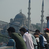 Fishermen on the Galata bridge, Istanbul, Turkey.