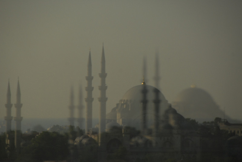 Reflection of mosque in glass, Istanbul, Turkey.