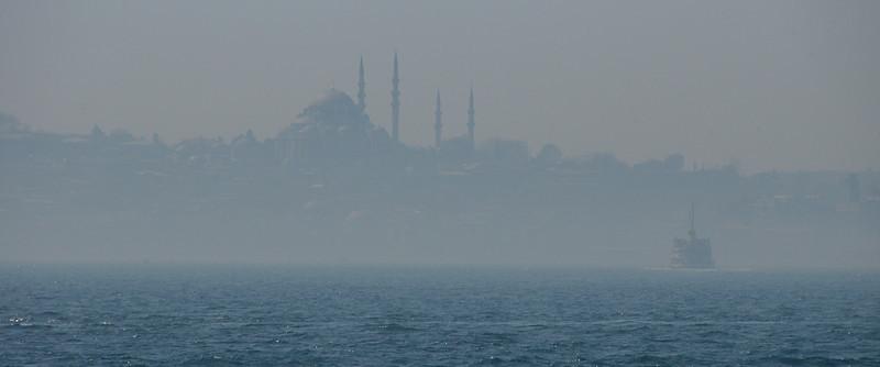 Mist on the Bosphorus Strait, Istanbul, Turkey.