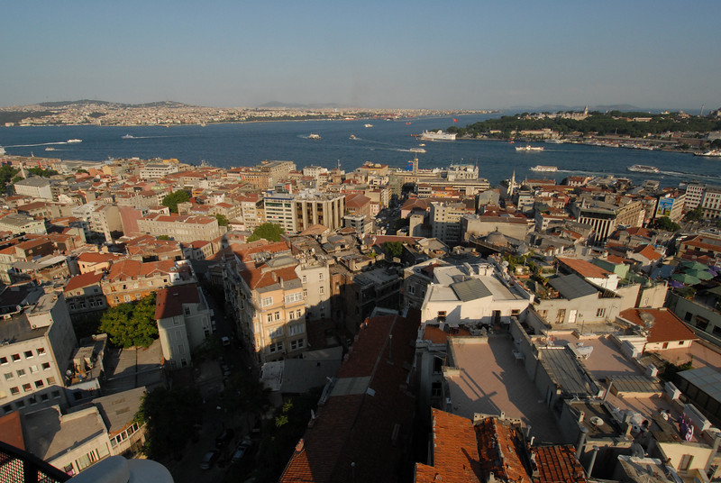The Golden Horn (foreground) meets the Bosphorus Strait, Istanbul, Trkey.