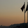 Turkish flags at dusk, Ortakoy district of Istanbul, Turkey.